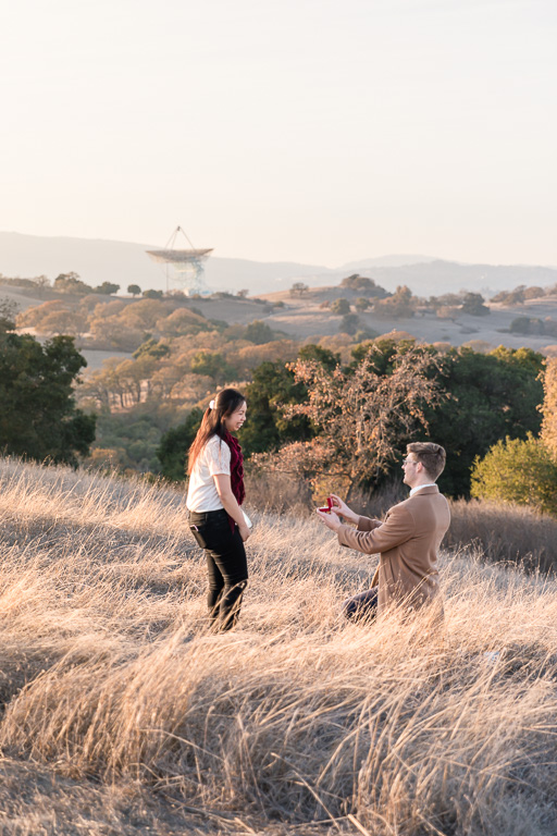 Stanford surprise proposal on a hiking trail