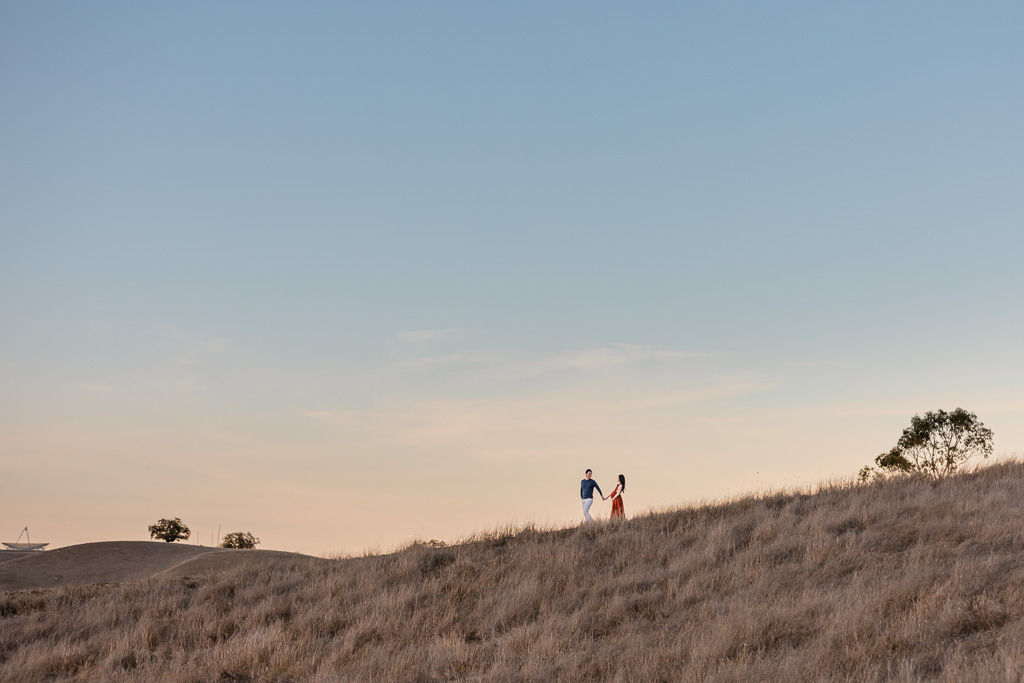 silhouette in rolling hills near Stanford Dish