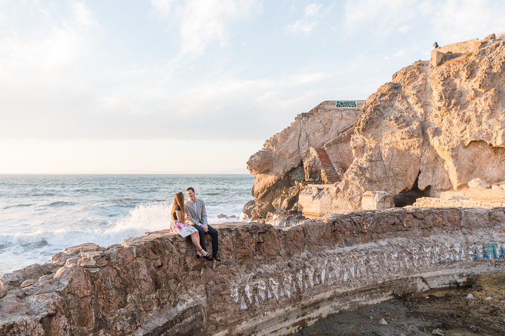 engagement photos on a sea wall