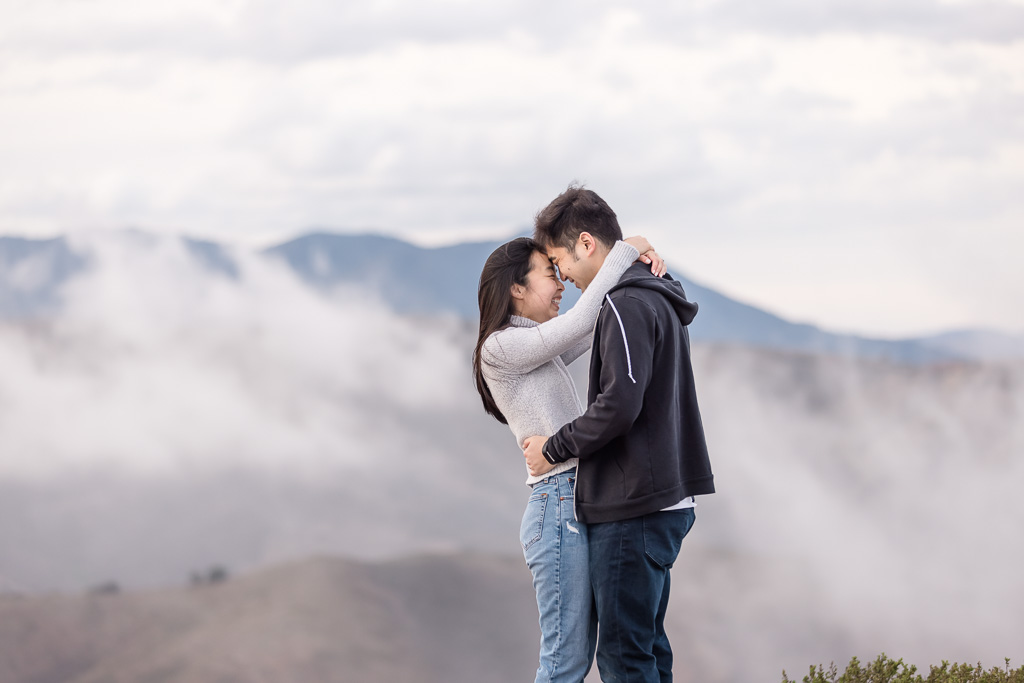 engagement portrait in the mountains