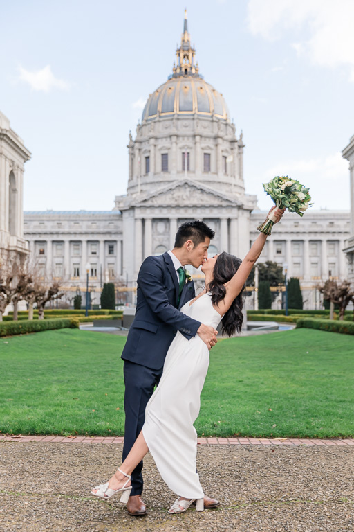 wedding photo in San Francisco City Hall outer courtyard