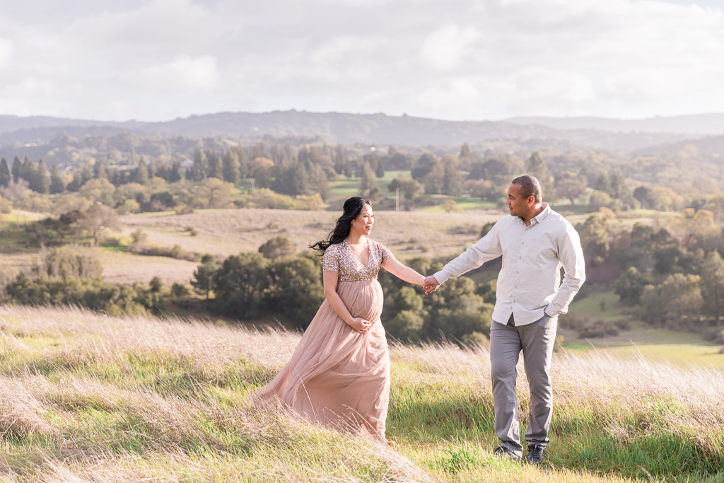 whimsical outdoor maternity session in Bay Area