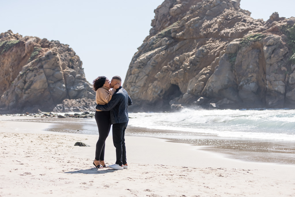 kiss after she said yes on Pfeiffer Beach