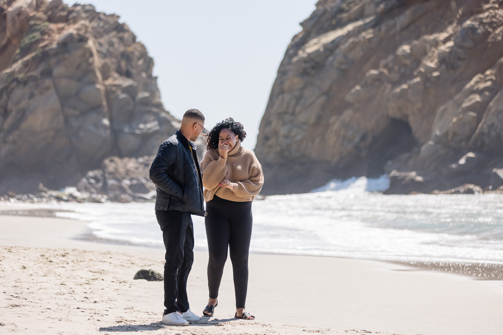 adorable candid moment after the big surprise proposal in Big Sur
