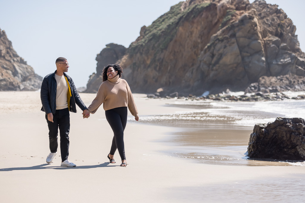 engagement photo at iconic Pfeiffer Beach in Big Sur