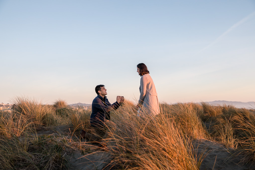 surprise proposal on the sand dunes with grass