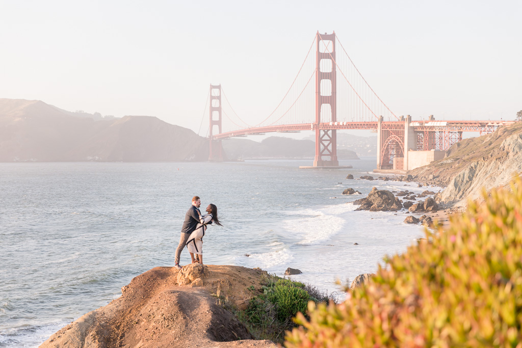 stunning location for Golden Gate Bridge engagement picture