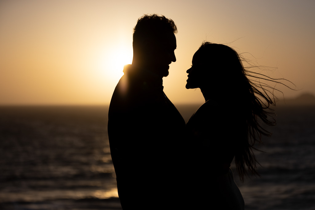 sunset silhouette save the date photo