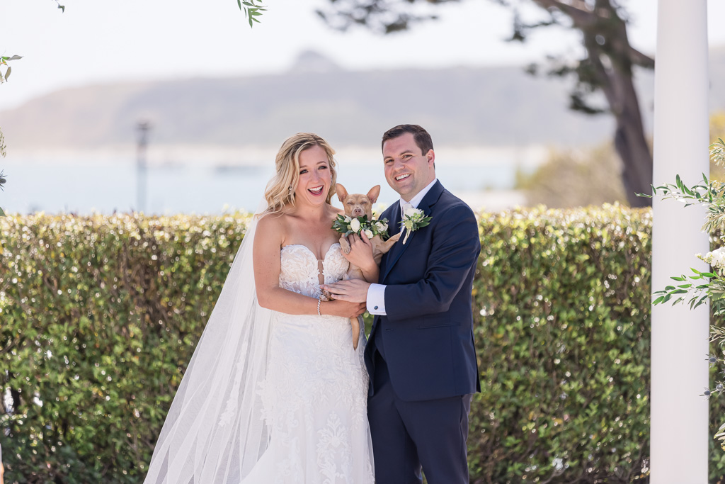 wedding portrait with dog at Oceano Hotel