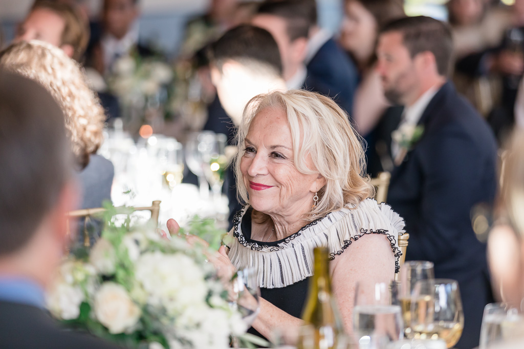 mother of the bride enjoying speeches