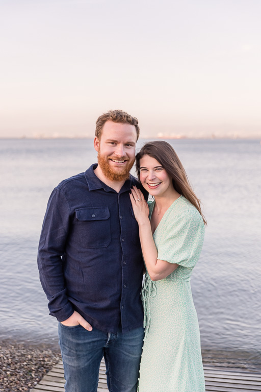 engagement photos on the San Francisco Bay at sunset
