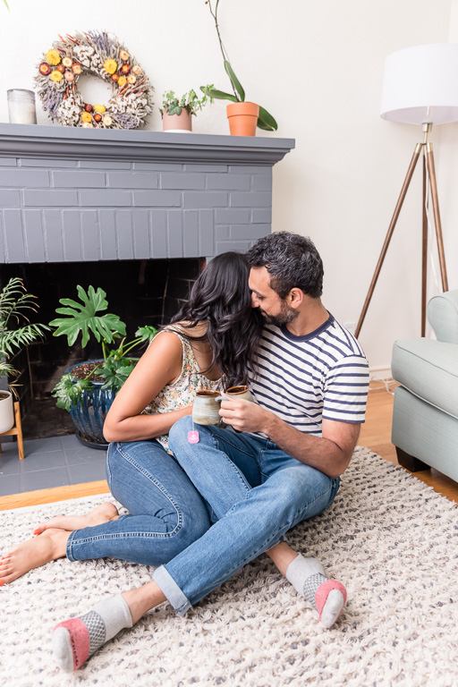 couple drinking tea together at home