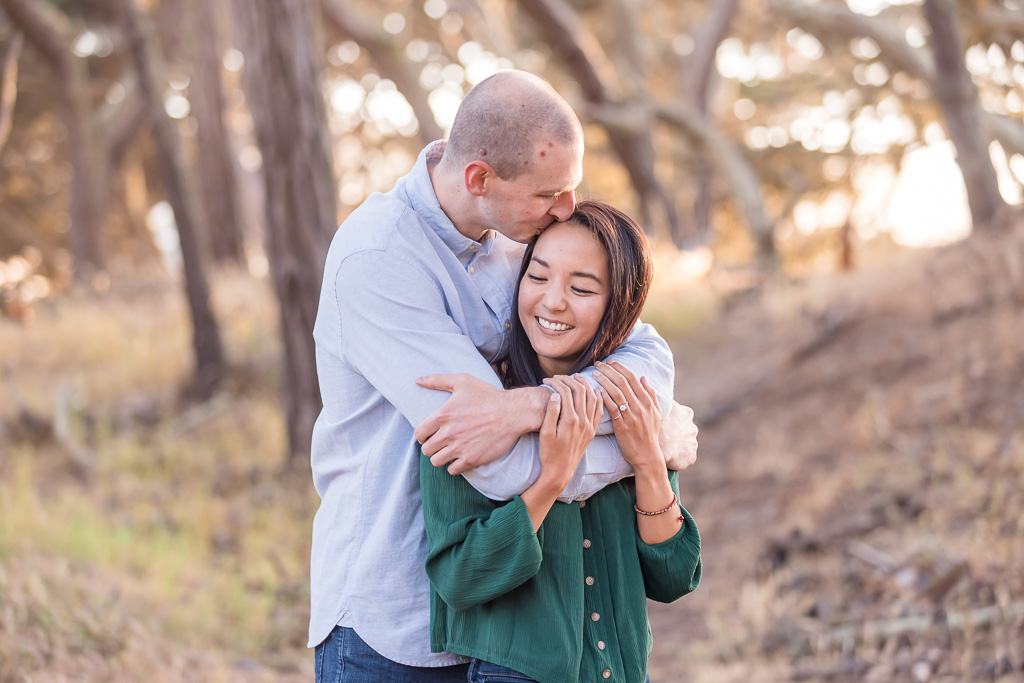 engagement photos in the woods in San Francisco