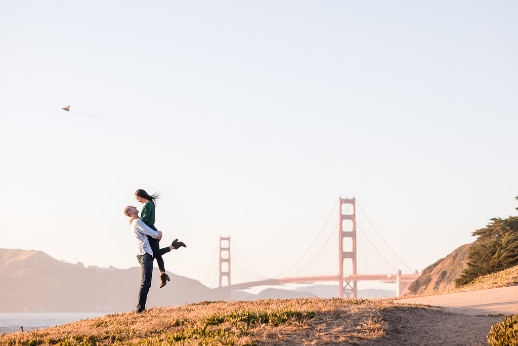 clean beautiful sunset engagement photo with Golden Gate Bridge