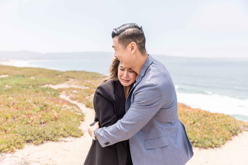 tearing up after surprise engagement