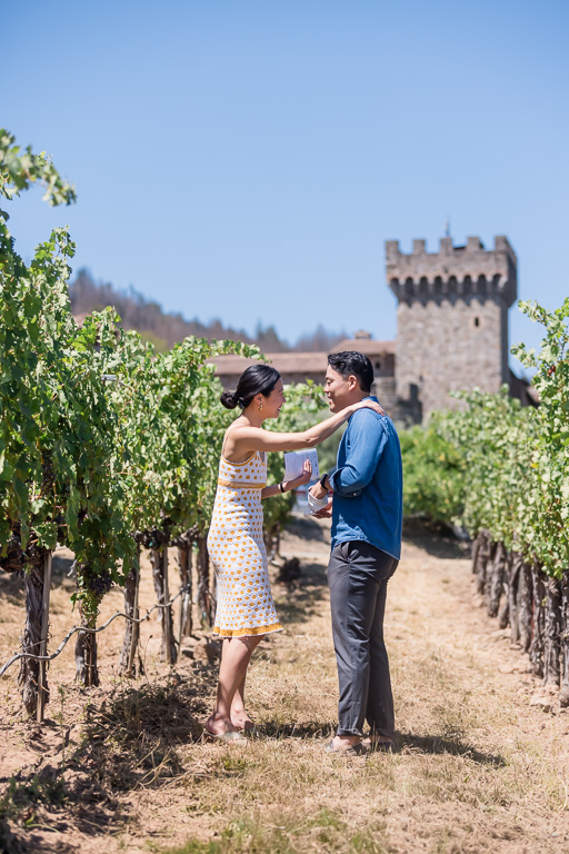 getting ready to propose in a vineyard