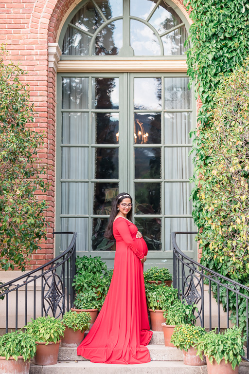 Filoli History House & Garden maternity photo at the door to the house