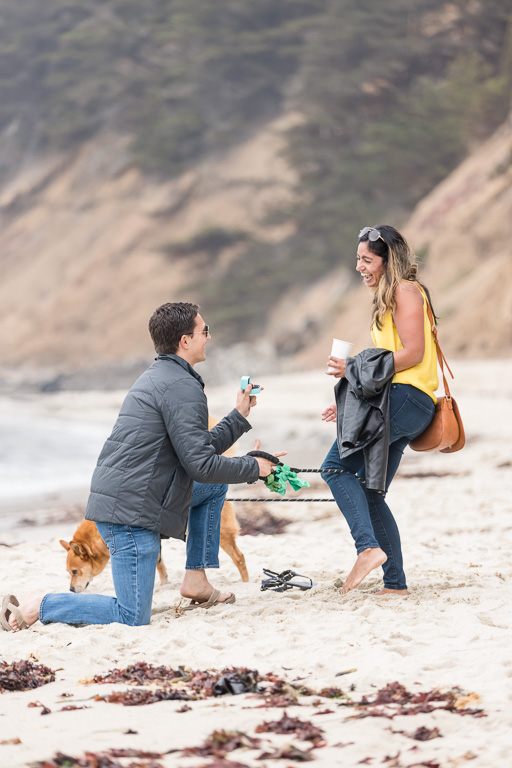 Moss Beach surprise proposal with dog