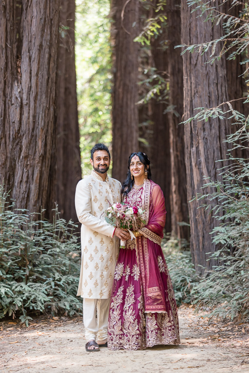 bride and groom in redwood forest