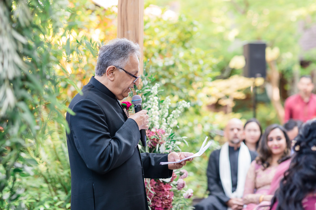 father of the bride riciting verses for traditional Muslim ceremony at Outdoor Art Club