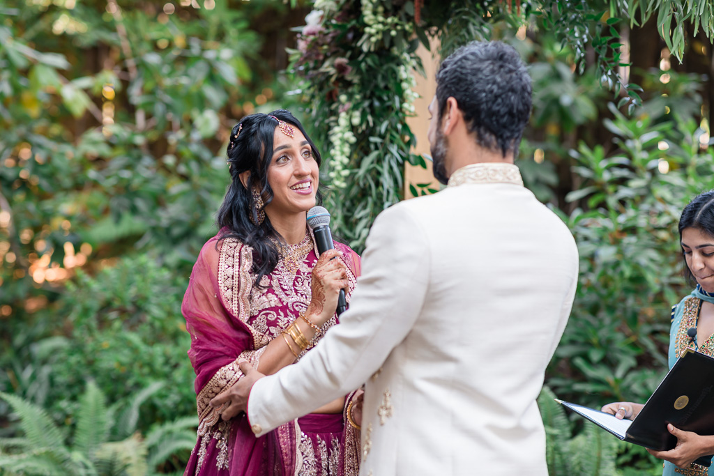 bride saying her vows during Indian/Muslim fusion ceremony at Outdoor Art Club