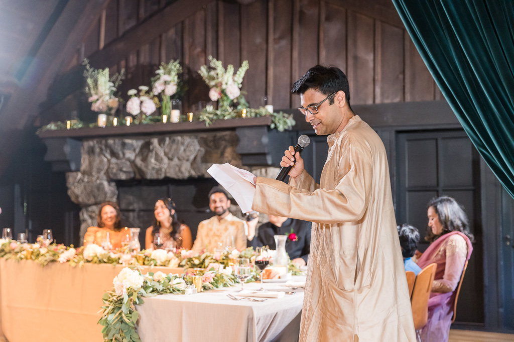 brother of the bride giving wedding toast