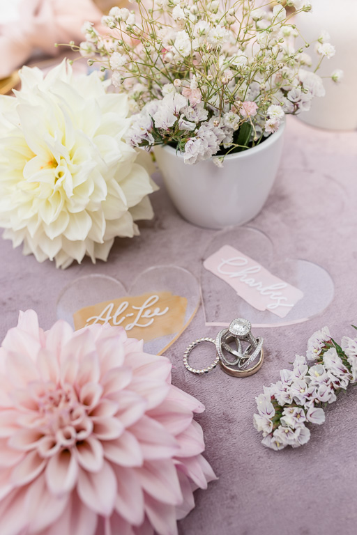 wedding ring paired with blush floral pieces