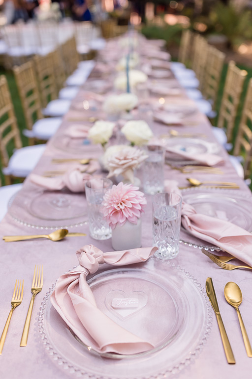 reception long table setup with transparent plates