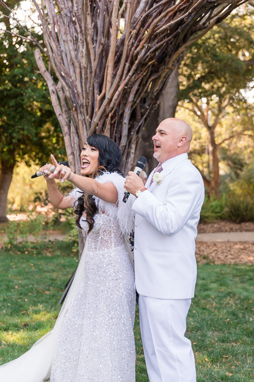 bride rapping at the reception