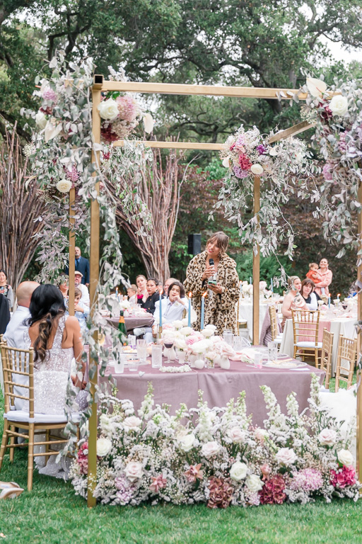wedding reception surrounded by flowers