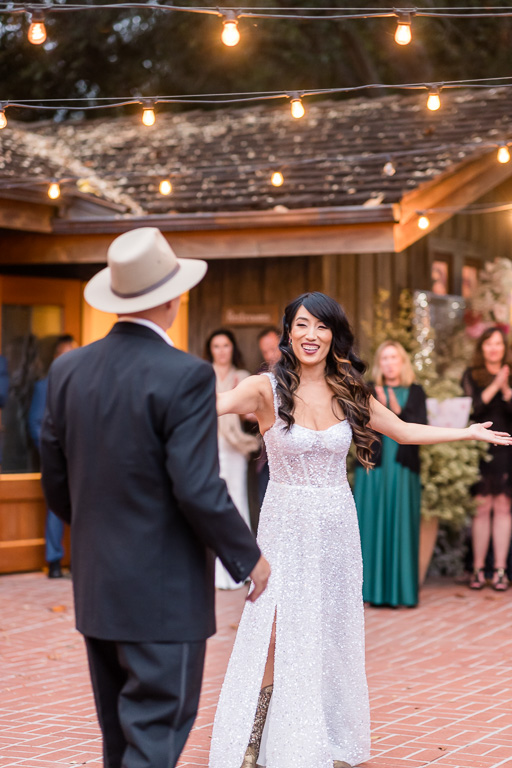 bride changed into Cowboy boots to dance with her Dad