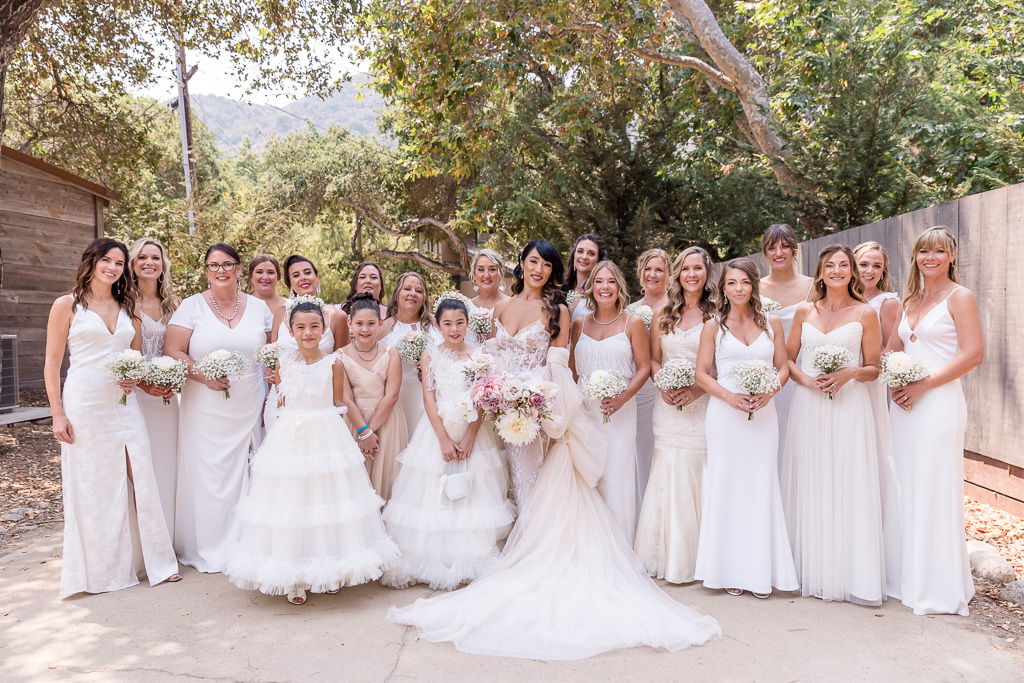 bridesmaids all wearing white