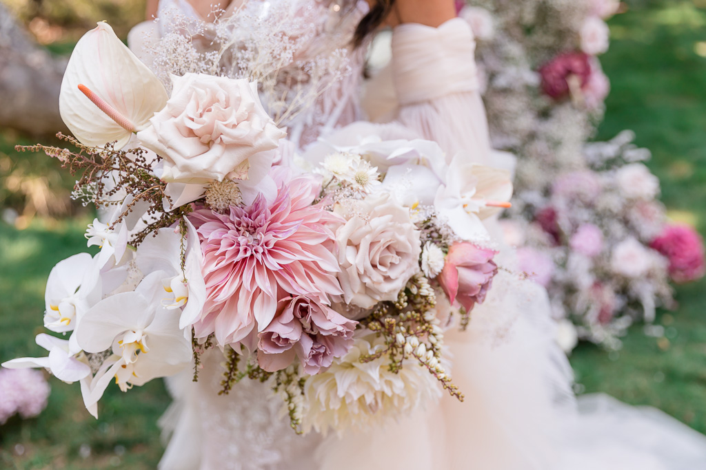 whimsical wedding with soft and romantic bouquet