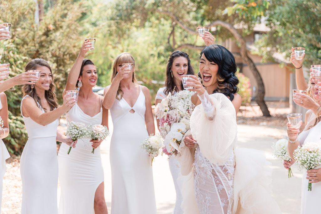 white bridesmaid dresses look great in photos