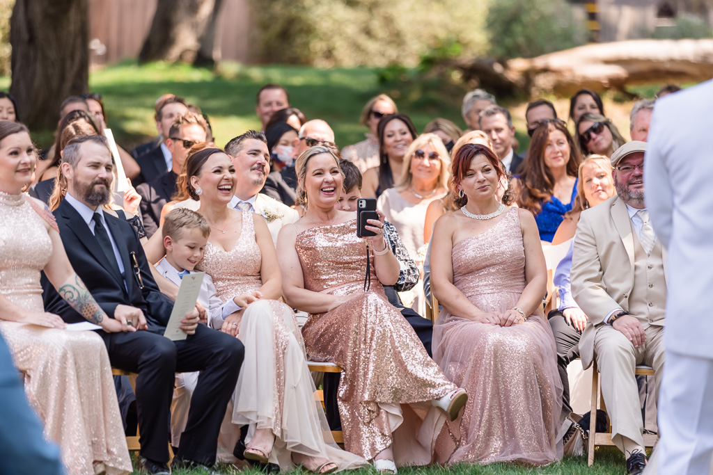 family sharing some laughter at the ceremony