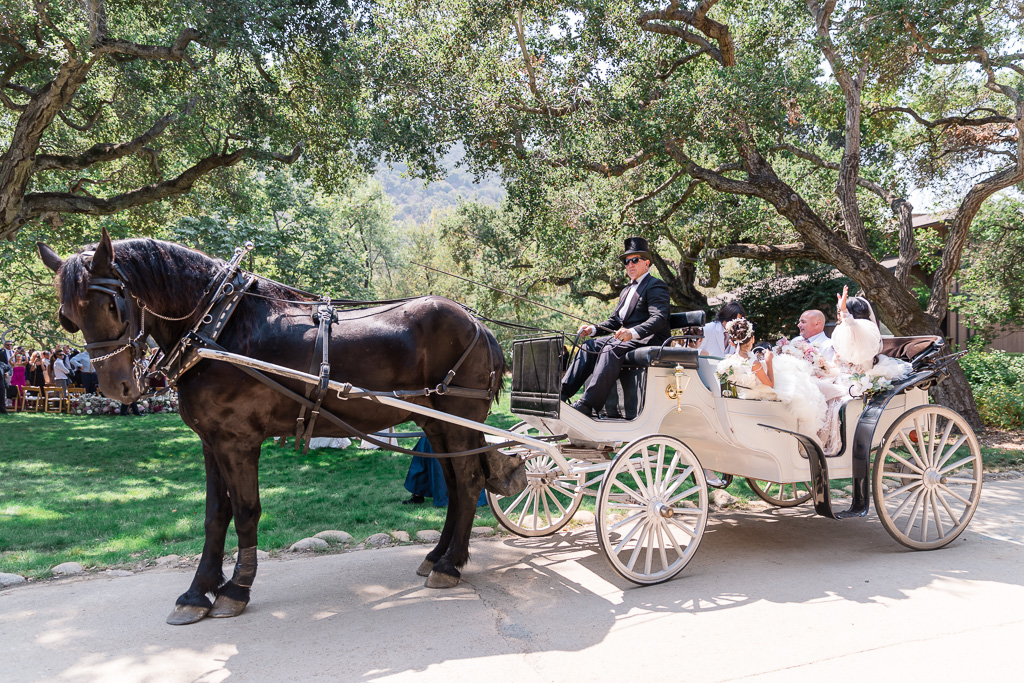 newlyweds leaving ceremony in horse and carriage