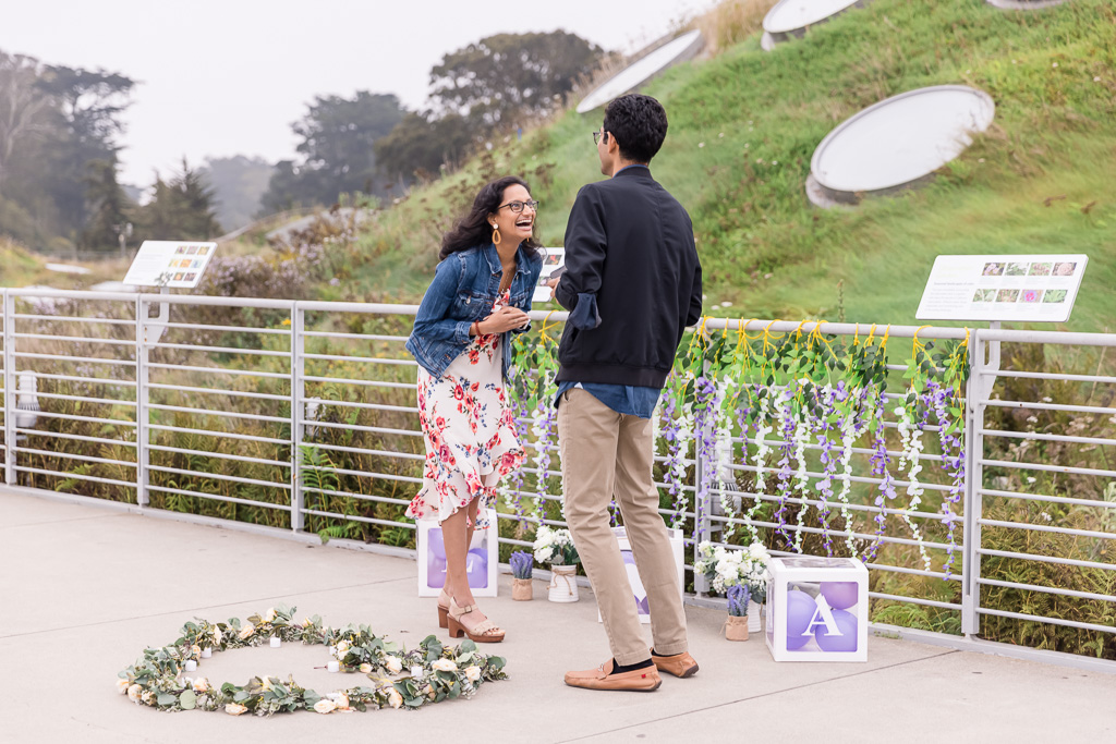 surprise proposal at the California Academy of Sciences Living Roof