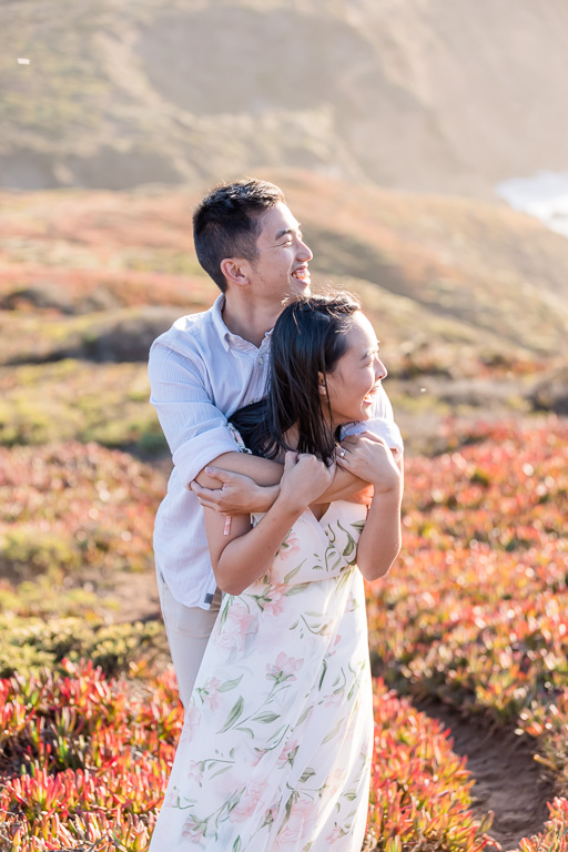 colorful Marin Headlands engagement session