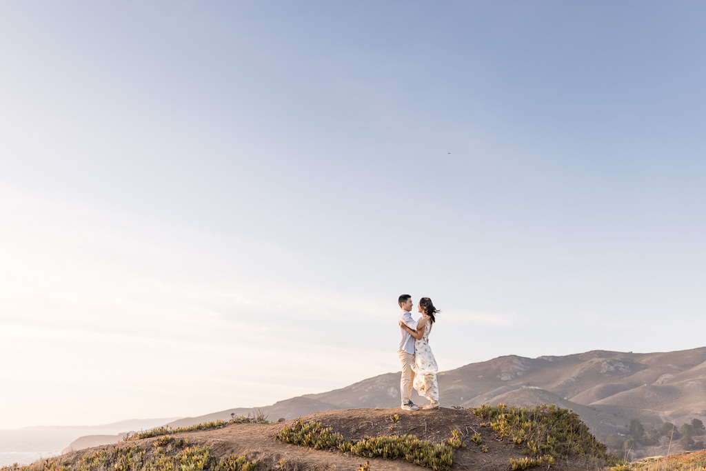 engagement photos on the hills near Rodeo Beach
