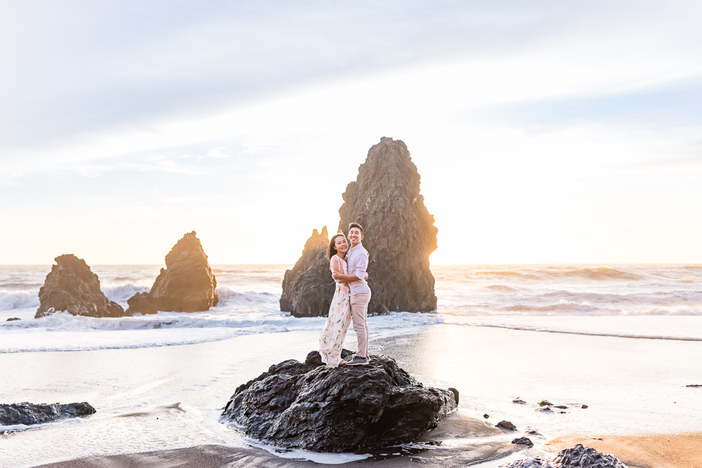 golden hour sunset engagement session at Rodeo Beach